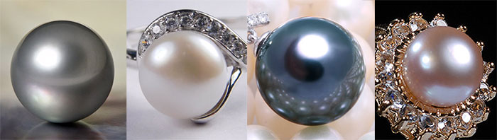 Pearl. Gem. Pearls and ring with pearl