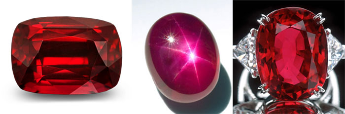 Ruby. Gemstone. Crowned ruby, star ruby, ring with ruby